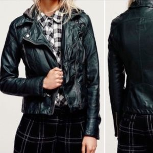 Free People Forest Green Vegan Leather Jacket